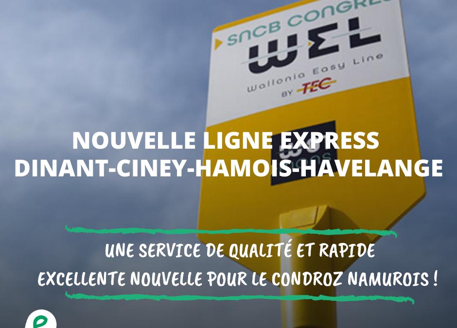 Nouvelle ligne Express Dinant-Ciney étendue vers Hamois et Havelange : le Ministre confirme !